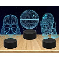 AMWGIMI Night Lights for Kids-3D Illusion Star Wars Night Light Three Pattern and 7 Color Change Decor Lamp with Remote…