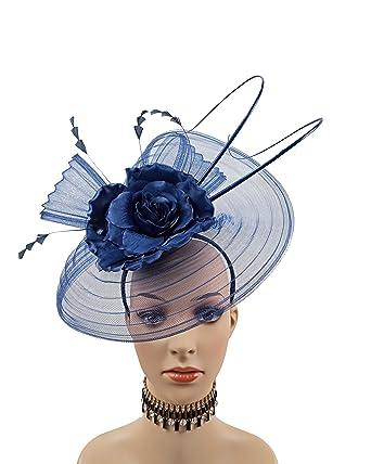 be04253fa00f4 ABPF Horsehair Folds Fabric Flower Fascinator Headband Hats Wedding Church  Hat (Dark Navy) at Amazon Women s Clothing store