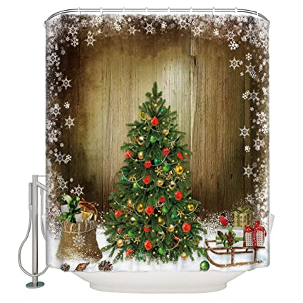 Christmas Holiday Designers Collection Digital Graphic Print Morning Shower Curtain Non Vinyl Waterproof Resistant W