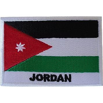 Parche bordado con la bandera de Jordán, para coser en árabe, arabe y Oriente Medio: Amazon.es: Hogar