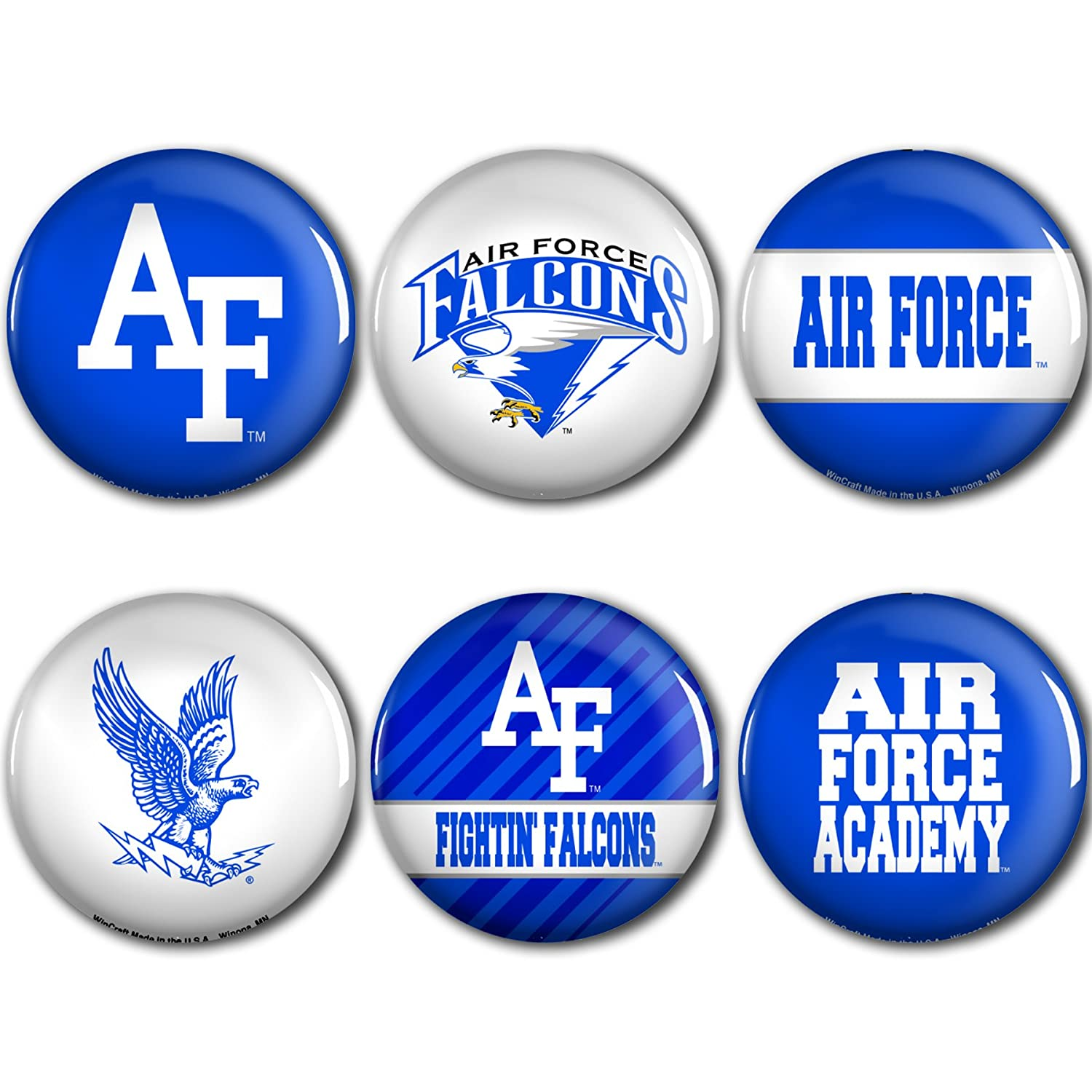 WinCraft Air Force Falcons Official NCAA Metal Button Badge Pin Set 6 Pack 985880