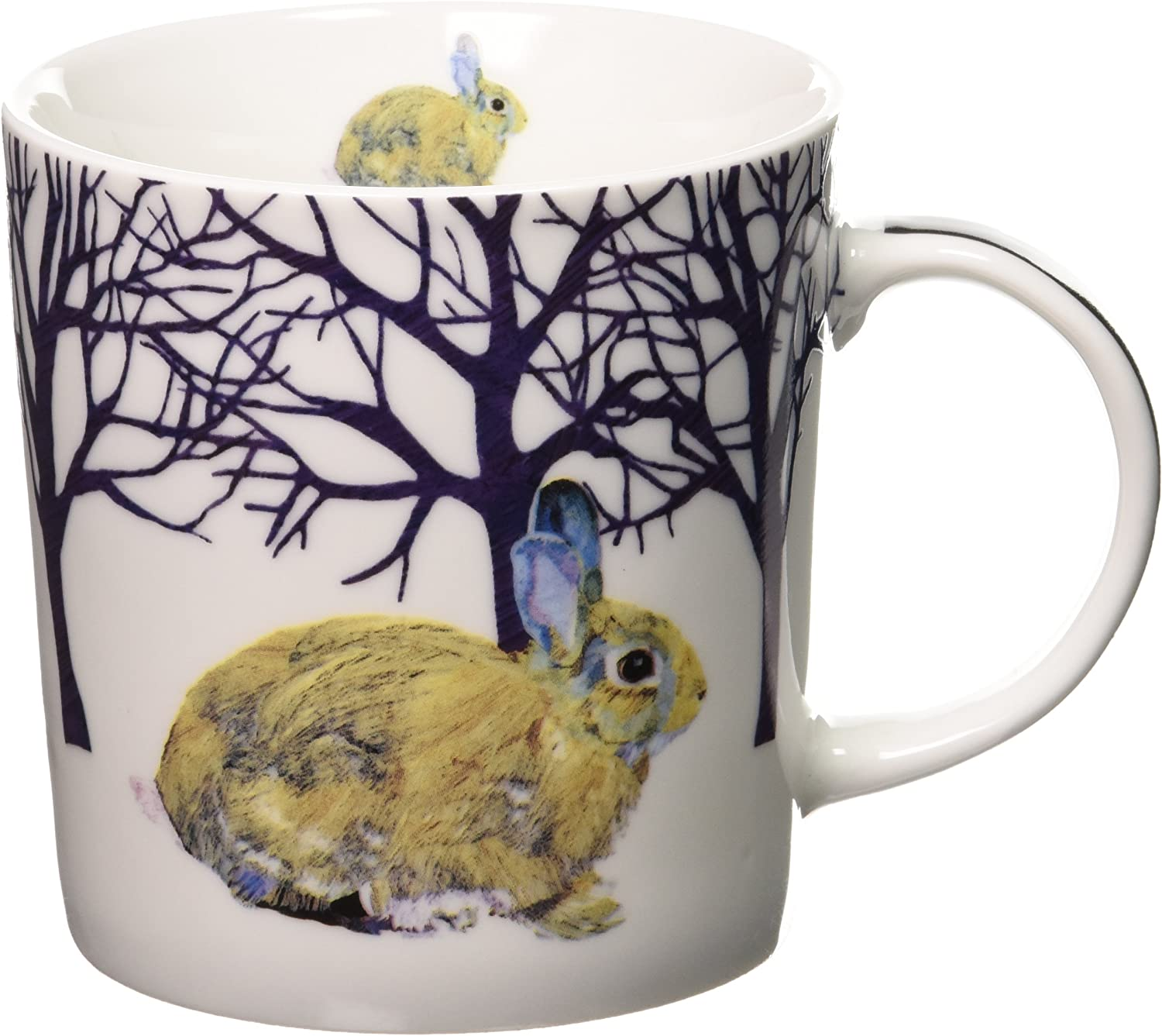 Paperproducts Design Decorative Bone China Mug Gift Box Set - Beverages, Hot, Cold Drinks, Tea – Artistic Designs, Decorated Mugs – 13.5 Ounces, Patti Gay/Two Can Art Winter Rabbit Design