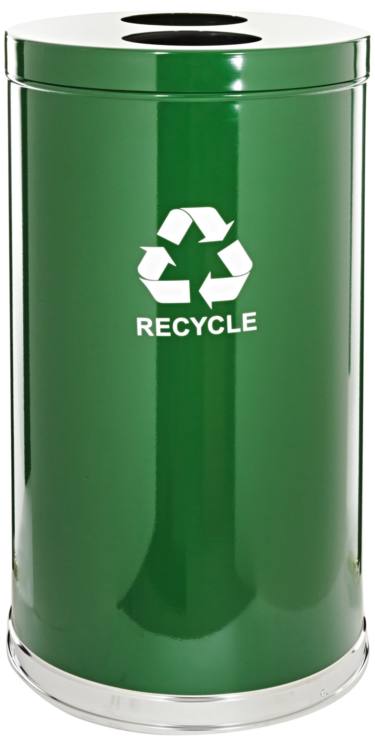 Witt Industries 18RTGN-2H Steel 36-Gallon 2 Opening Recycling Container with 2 Plastic Liners, Legend ''Recycle'', Round, 18'' Diameter x 33'' Height, Green