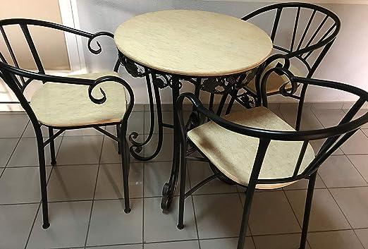 Conjunto Bar 1. Conjunto de Mesa Alta con Top de mármol Beige y 4 sillas a Juego. Decoración de forja. Muy Decorativo. para Interiores o terrazas.: Amazon.es: Jardín