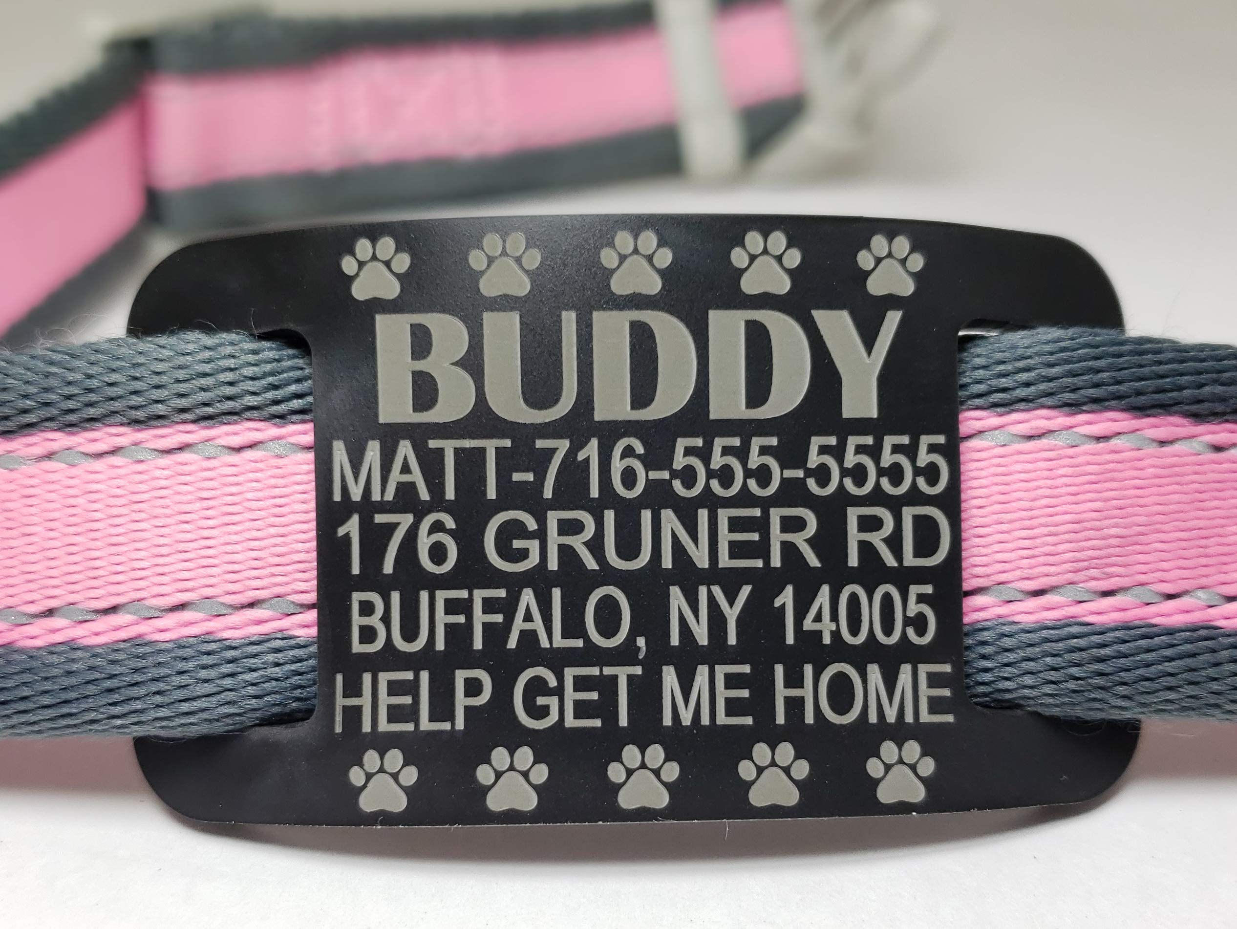 Slide On Collar Tags Quality Pet IDs - Silent, Stretchy Rubber, Never Fades, Safe - Custom Deep Engraved, Waterproof, Personalized Identification for Dogs and Cats - 6 colors, 6 sizes, 5 lines of text