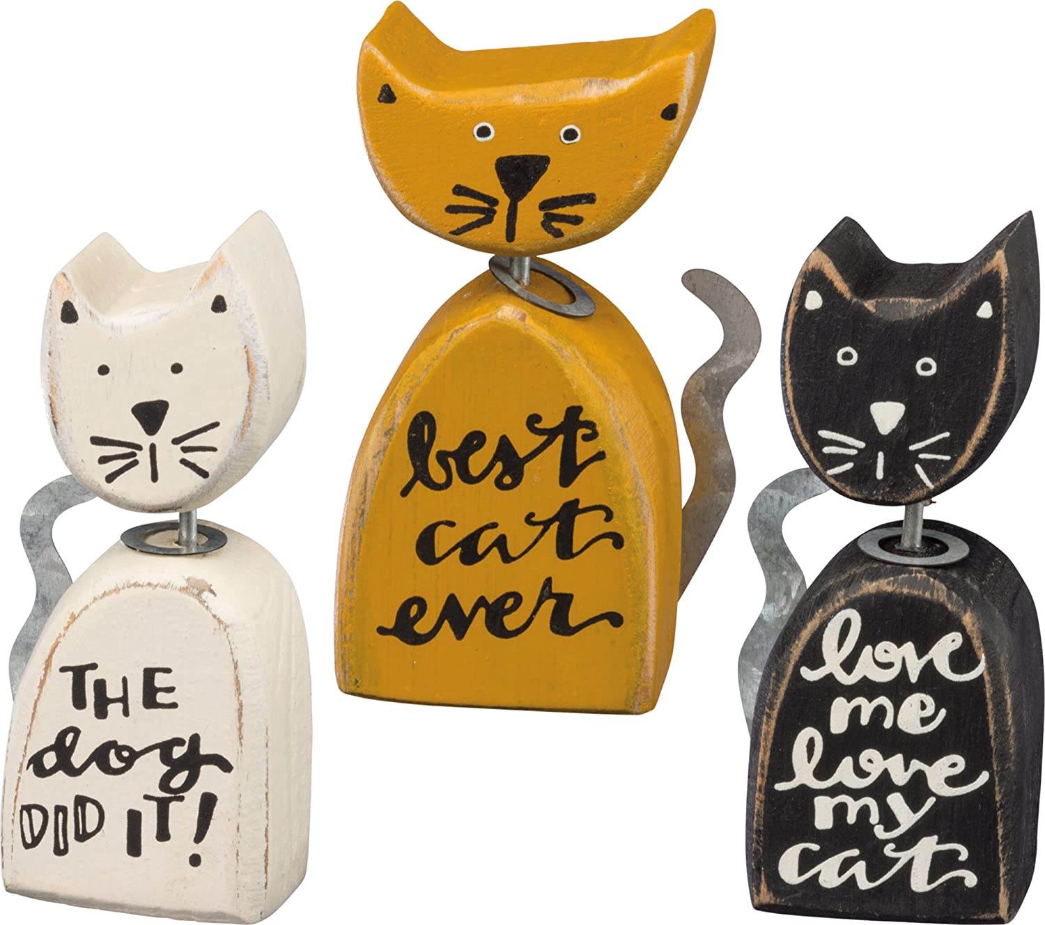 Primitives by Kathy Rustic Style Magnets Set of 3 All You Need is Love and a Cat