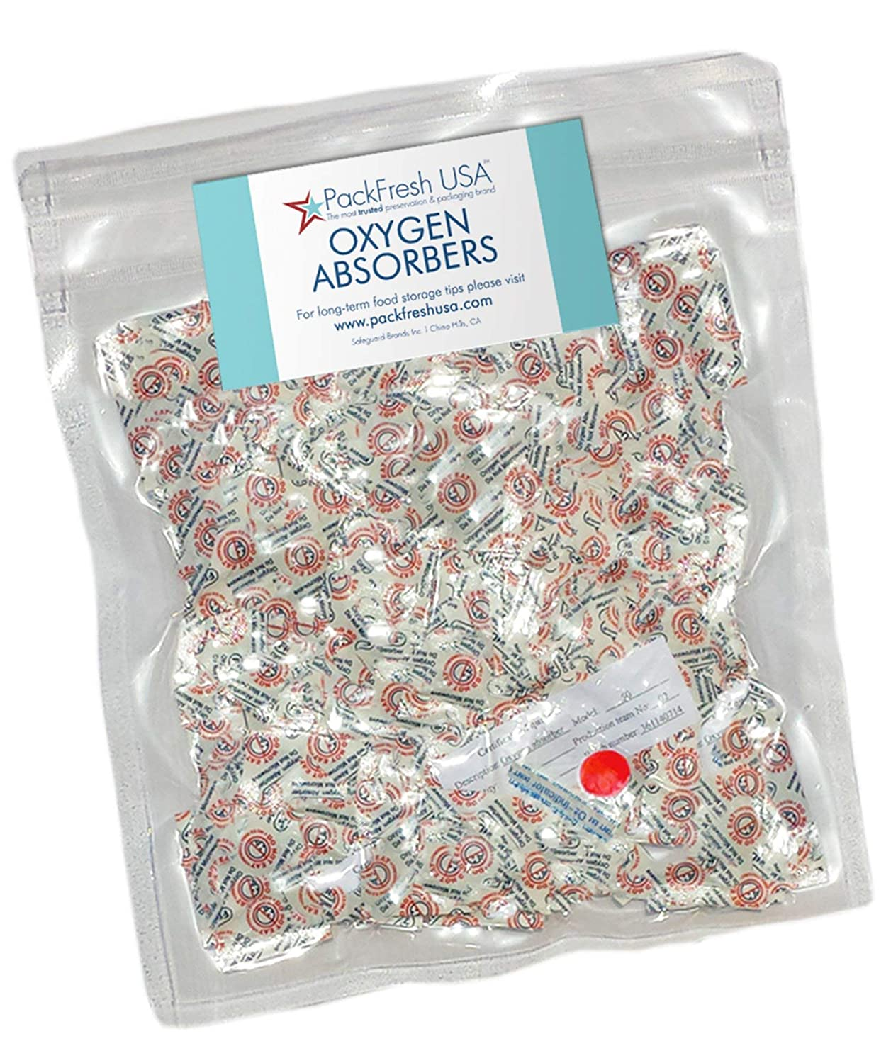 50cc Oxygen Absorbers for Food Storage (200) with PackFreshUSA LTFS Guide