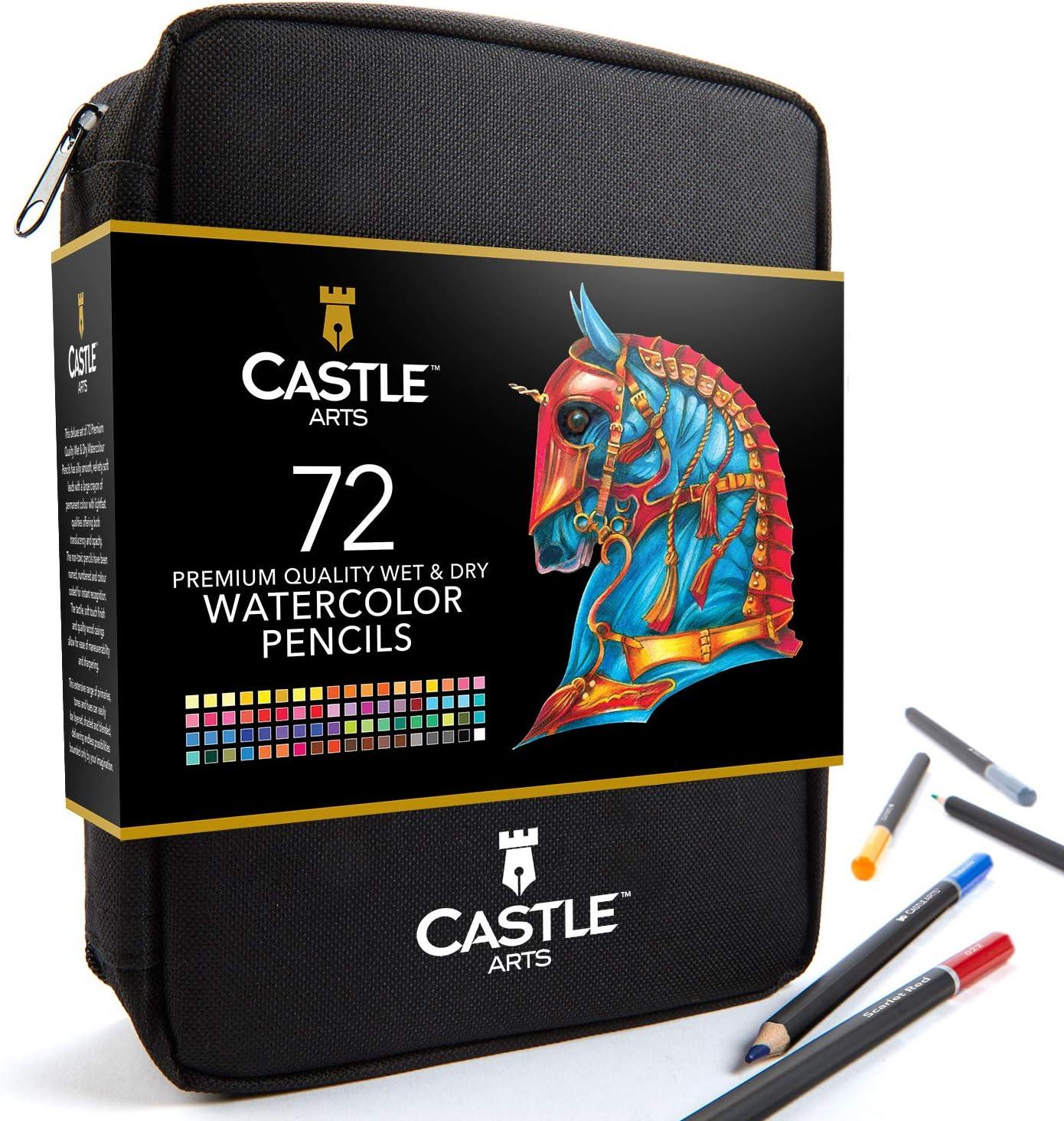 Castle Arts - Juego de 72 lápices de acuarela en estuche con cremallera para obtener grandes resultados, colores vivos de alta calidad con colores vivos para crear hermosos efectos mezclados con agua.: