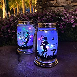 ANGMLN Solar Fairy Lantern Decor Night Light- 2 Pack Ourdoor Fairies Decorations Gifts Hanging Lamp Frosted Glass Jar with Stake for Yard Garden Patio Lawn (Multicolor)