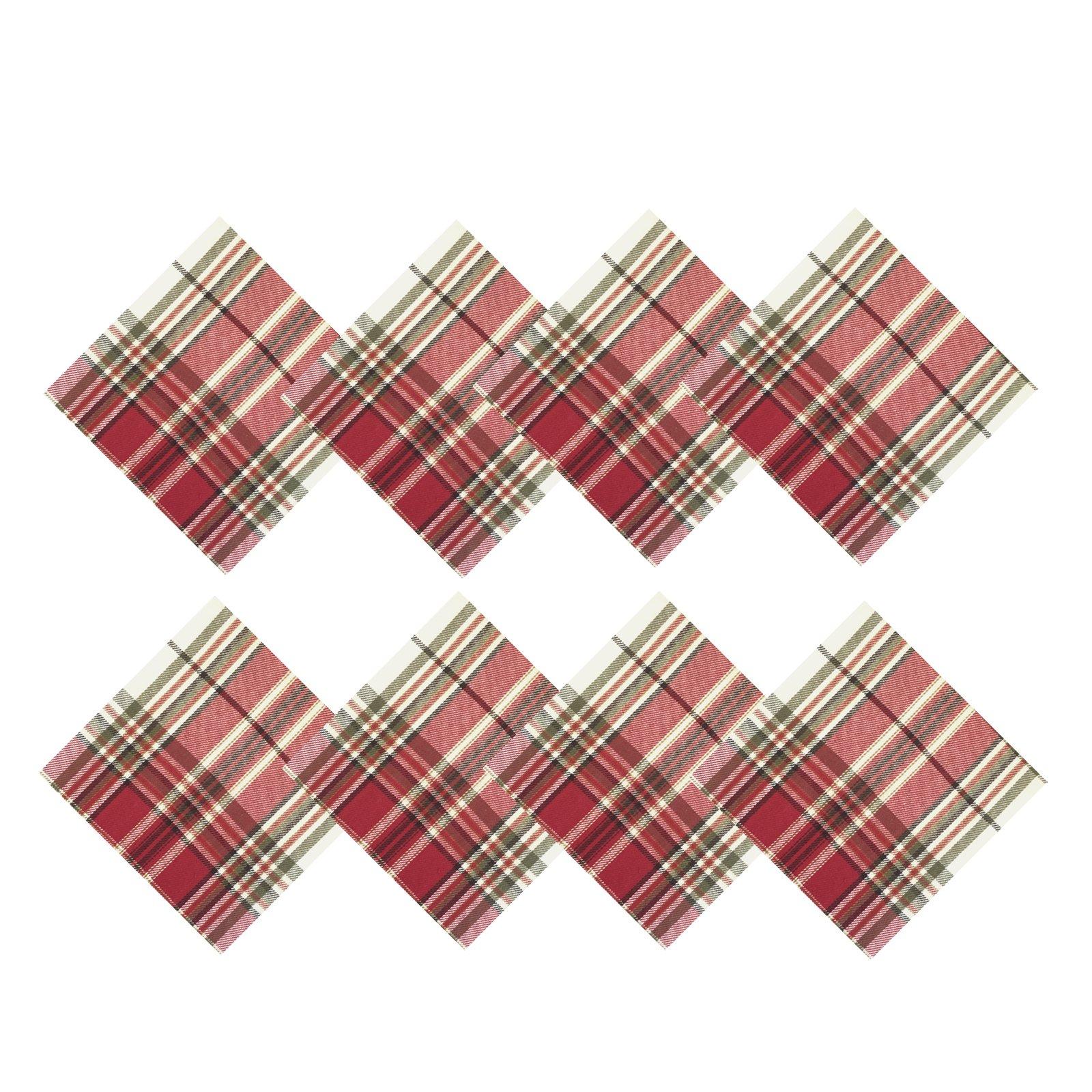 Sully Tartan Christmas Plaid Fabric Napkins, 100% Woven Cotton Holiday Napkin Set, Set of 8 Napkins