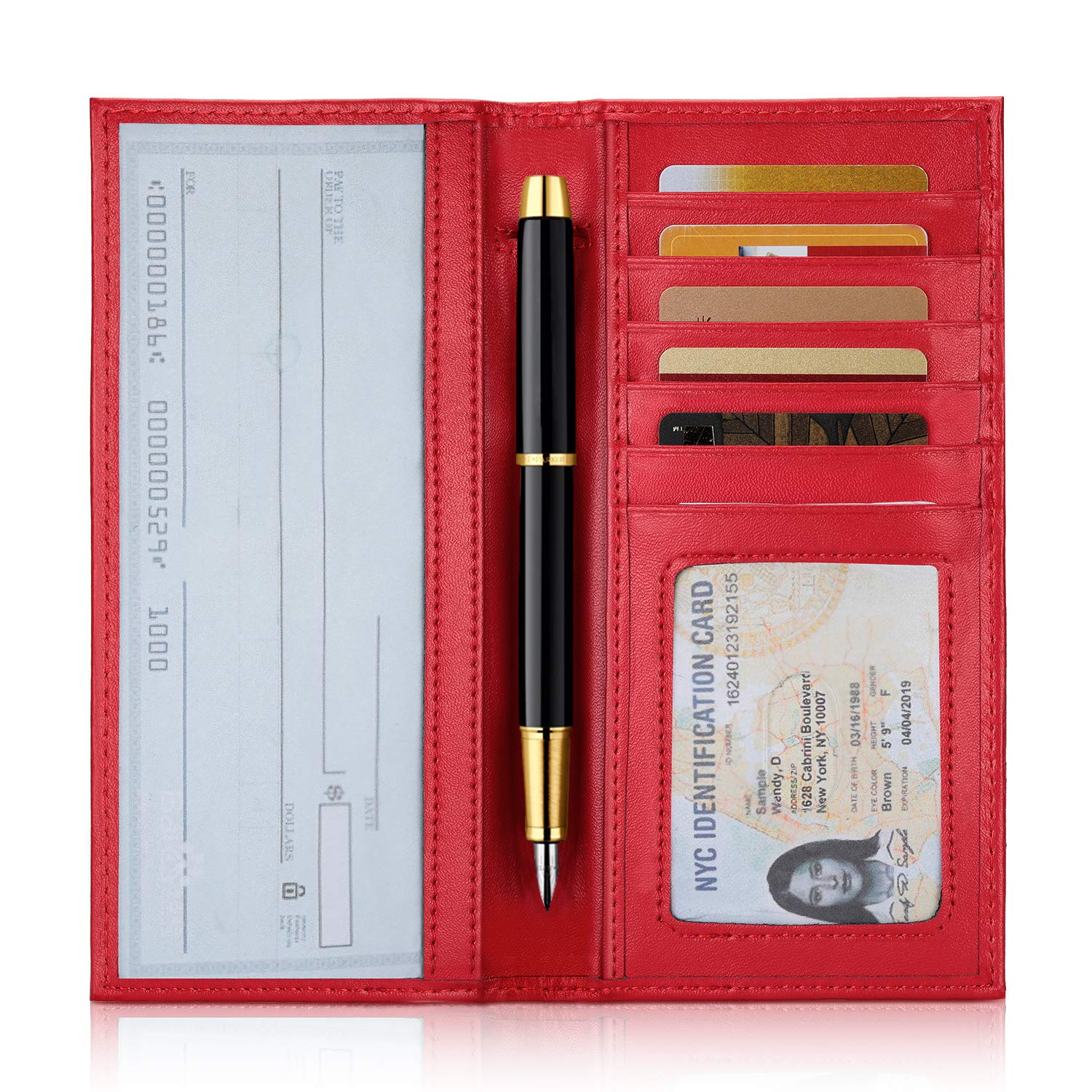 YOOMALL Leather Checkbook Cover RFID Blocking Slim Wallet Credit Card Holder