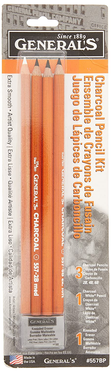 2.75 Width 9.75 Length Pack of 5 0.12 Height General Pencil 557BP Charcoal Pencil Kit with Eraser