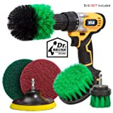 Holikme 6 Piece Drill Brush Attachment Set Scouring Pads Power Scrubber Brush Scrub Pads Cleaning Kit-All Purpose Cleaner for Bathroom Surfaces, Grout, Floor, Tub, Shower, Tile, Corners