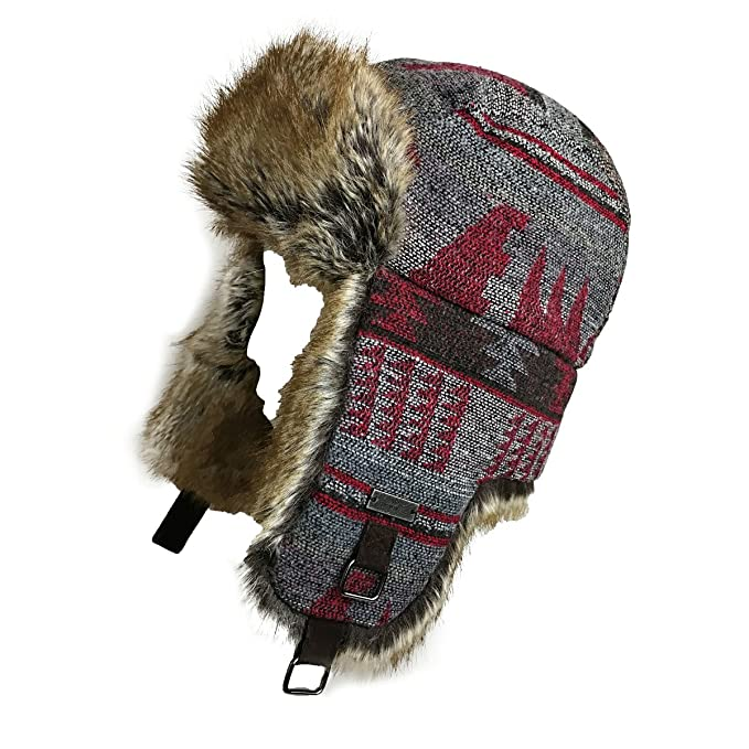 9e9a99c8 FUR WINTER Wool Blend Pine Tree Faux Fur Aviator Trapper Trooper Pilot Ski  Hat BLK/RED M at Amazon Men's Clothing store: