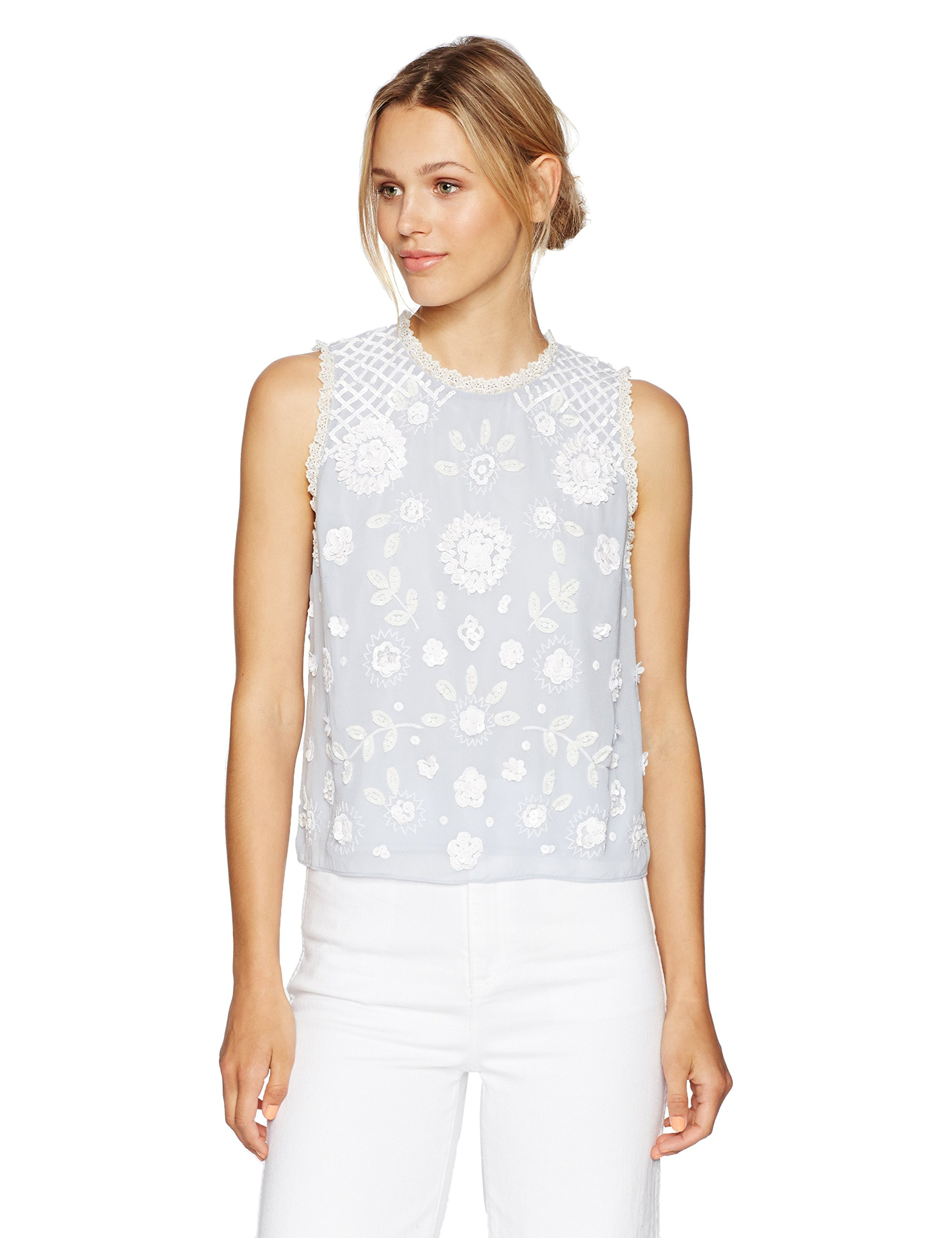 French Connection Women's Dalia Sheer Top, Salt Water/Summer White, 10