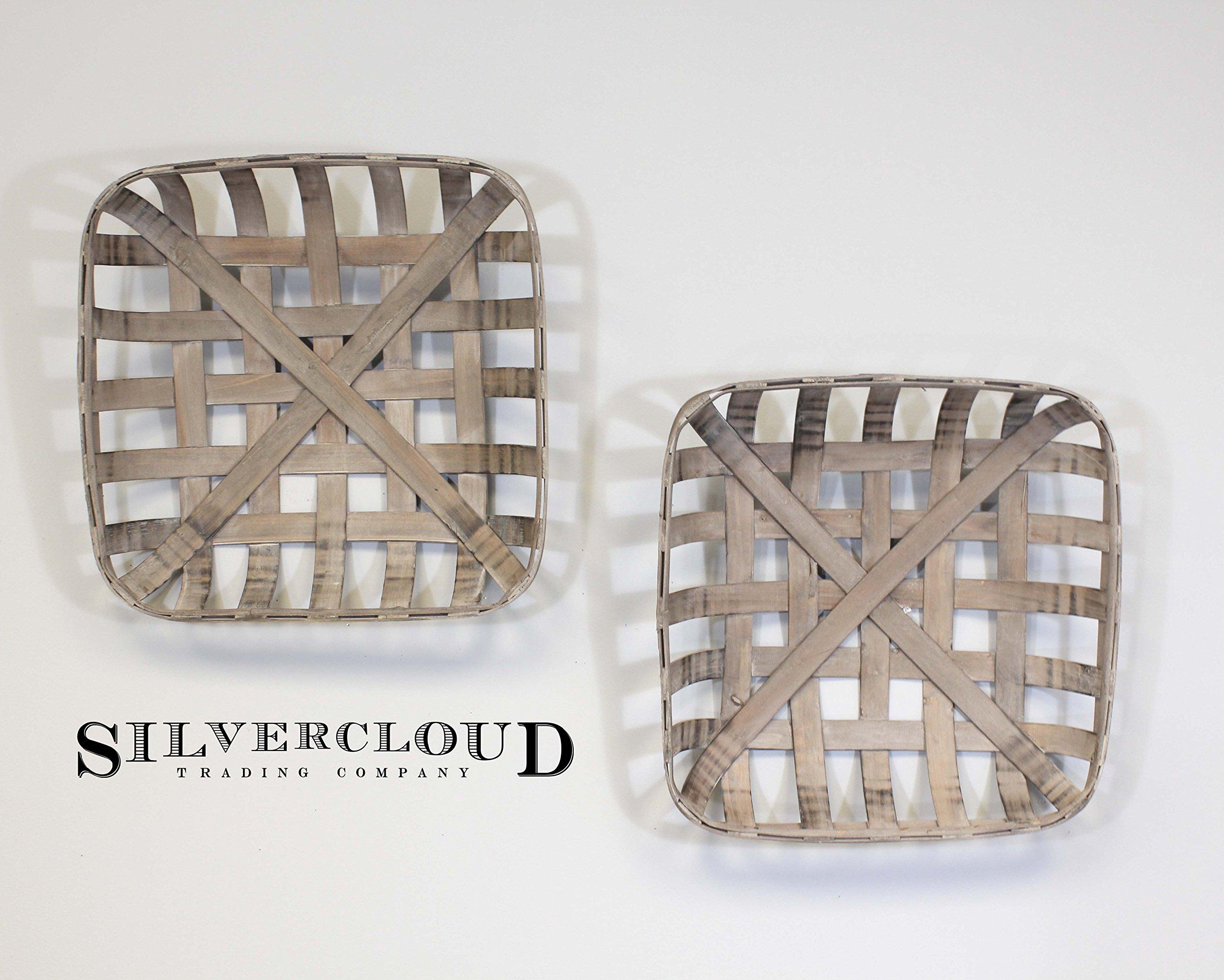 Silvercloud Trading Co. 2 Piece Set of Tobacco Baskets, Farmhouse Decor, Small 17'' Squares