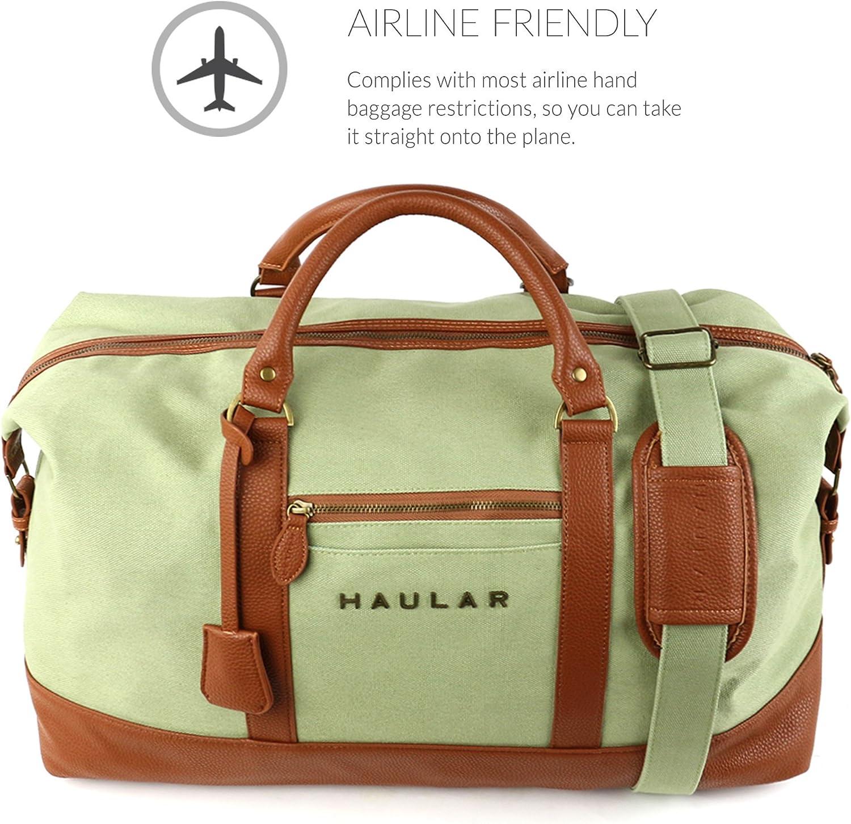 Bolsa de fin de semana haular noche viaje Carry bolso de viaje de en acabado en lat/ón lona verde claro Large