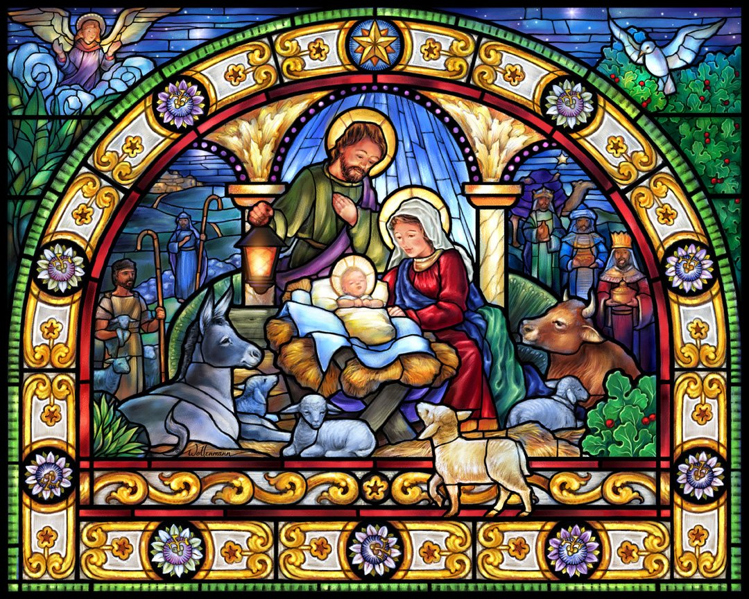 Stained Glass Holy Night Jigsaw Puzzle 1000 Piece