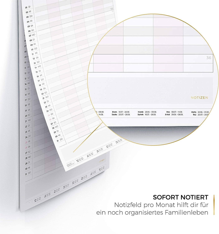 Familienplaner 2020 5 7 SpaltenFamilienkalender XXL in 60x30cm