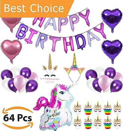 Amazon.com: uschoice – 62 pcs unicornio fiesta de cumpleaños ...