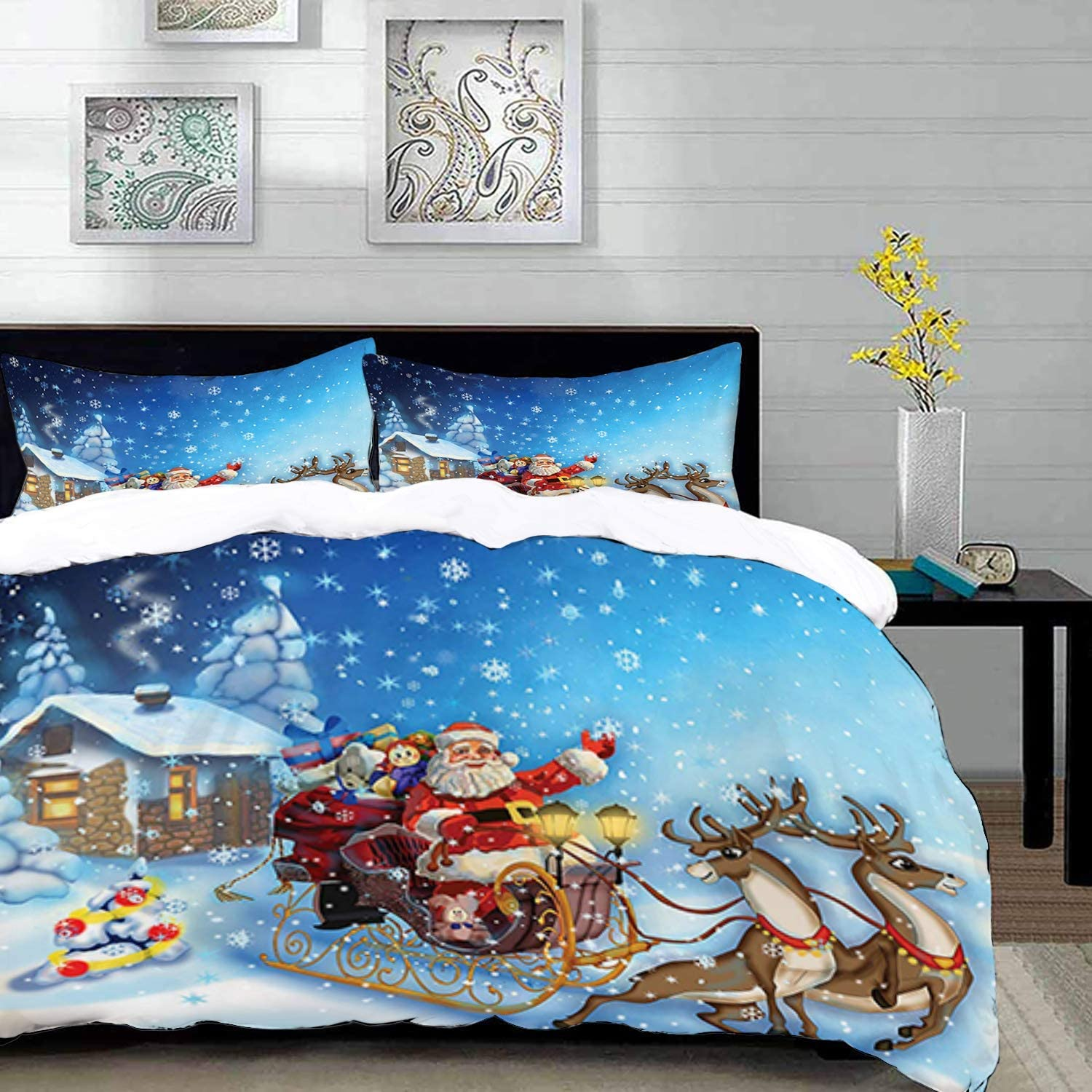 Qoqon Bedding Duvet Cover Set Christmas Santa In Sleigh With Reindeer And Toys In Snowy North Pole Tale Fantasy Image Multico Microfibre Duvet Cover Set With 2 Pillowcase 50 X 75cm Amazon Co Uk Kitchen