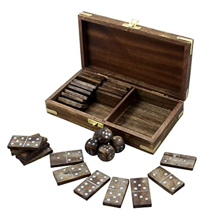 Premium Handmade Wooden Dominoes Set Deck Pack with 28 Professional Domino Tiles in Decorative Acacia Wood Storage Box Classic Fun Educational Numbers Math Table Games Party Favor Ideas Adults Kids