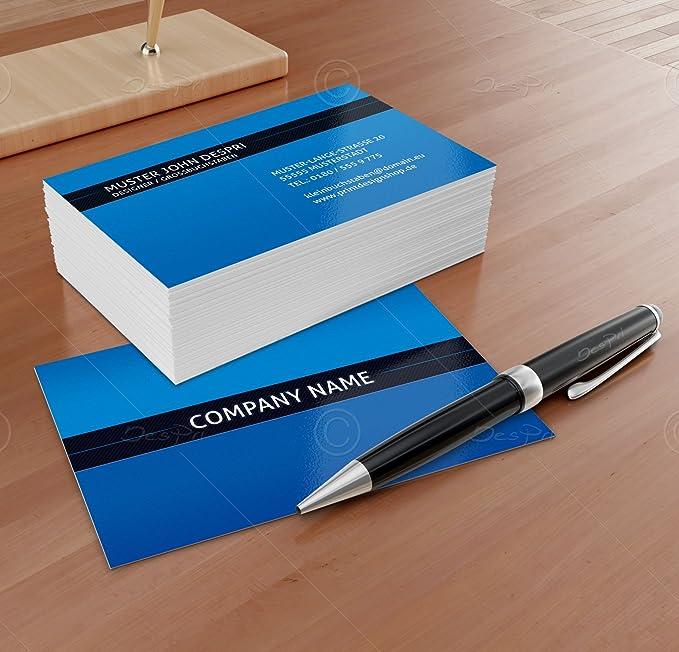 250 St/ück Despri Design VK023 Business Visitenkarten Blau gl/änzend Online gestalten