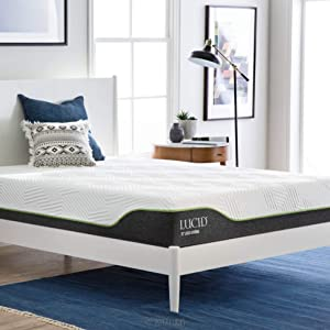 LUCID 10 Inch Twin XL Latex Hybrid Mattress - Cooling Gel Memory Foam - Responsive Latex Layer - Adaptable - Premium Support - Durable Steel Coils