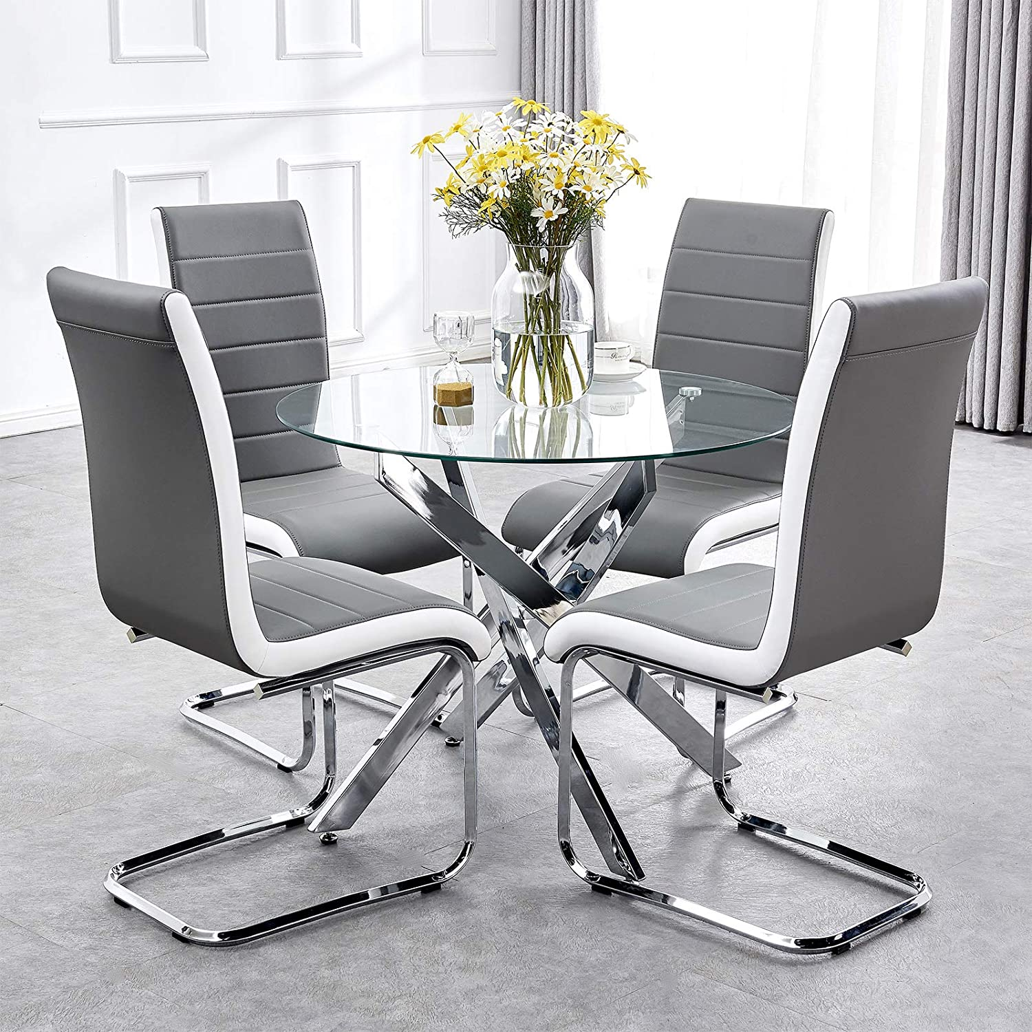 Tonvision Stylish Glass Dining Table And 4 Chairs Set Grey White Side Faux Leather High Back 90 Cm Round Clear Tempered Top Chrome Legs Sturdy Home Living Kitchen Space Saving Furniture Amazon Co Uk