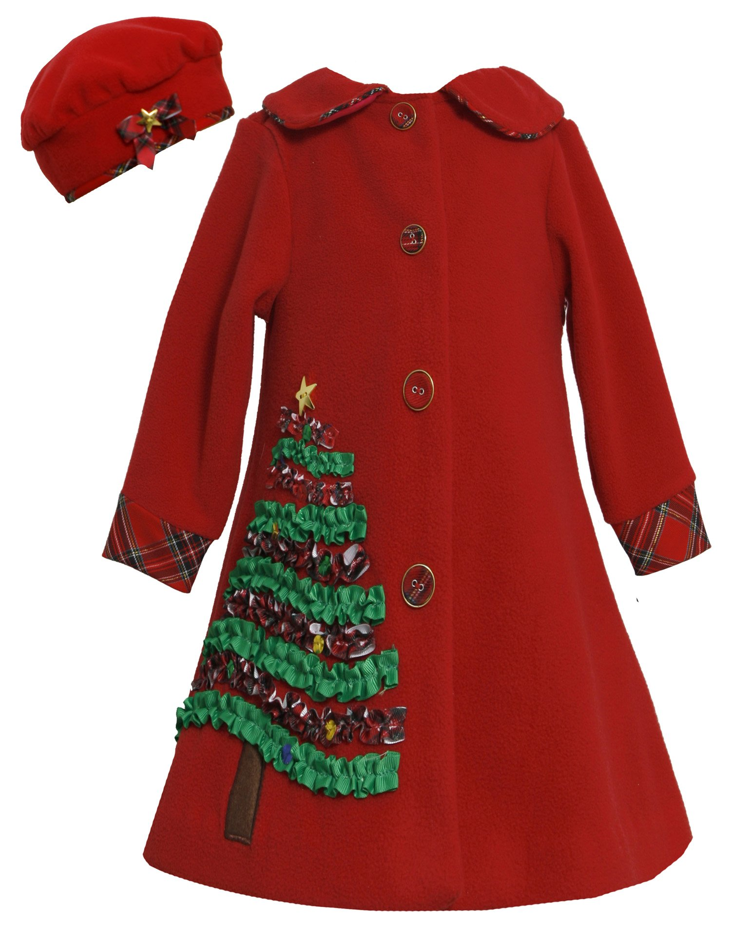Bonnie Jean Girls 7-16 Red Sequin Holiday Tree Applique Fleece Coat / Hat Set RD4TA, Red