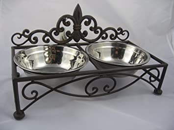 Sommerfield Double Dog Bowl Cat Bowl Stand Nostalgic Antique Look