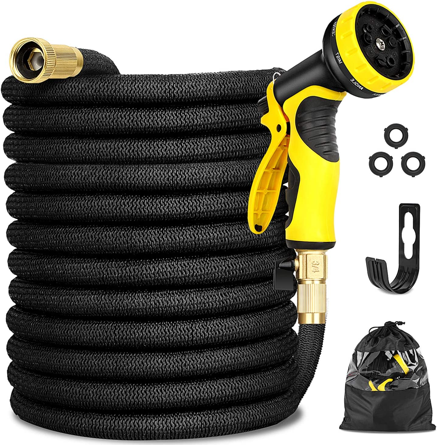 "Garden Hose Expandable 100FT, Flexible Water Hose with Powerful Nozzle Spray, Car Wash Hose with Good Pressure, Expanding hose with 3/4"" Brass Connector, Hose with Metal 9 Function Spray NozzleStorage"