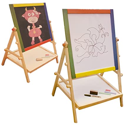 FunkyBuys® Kids Children 2 in 1 Wooden Easel (SIL-13912