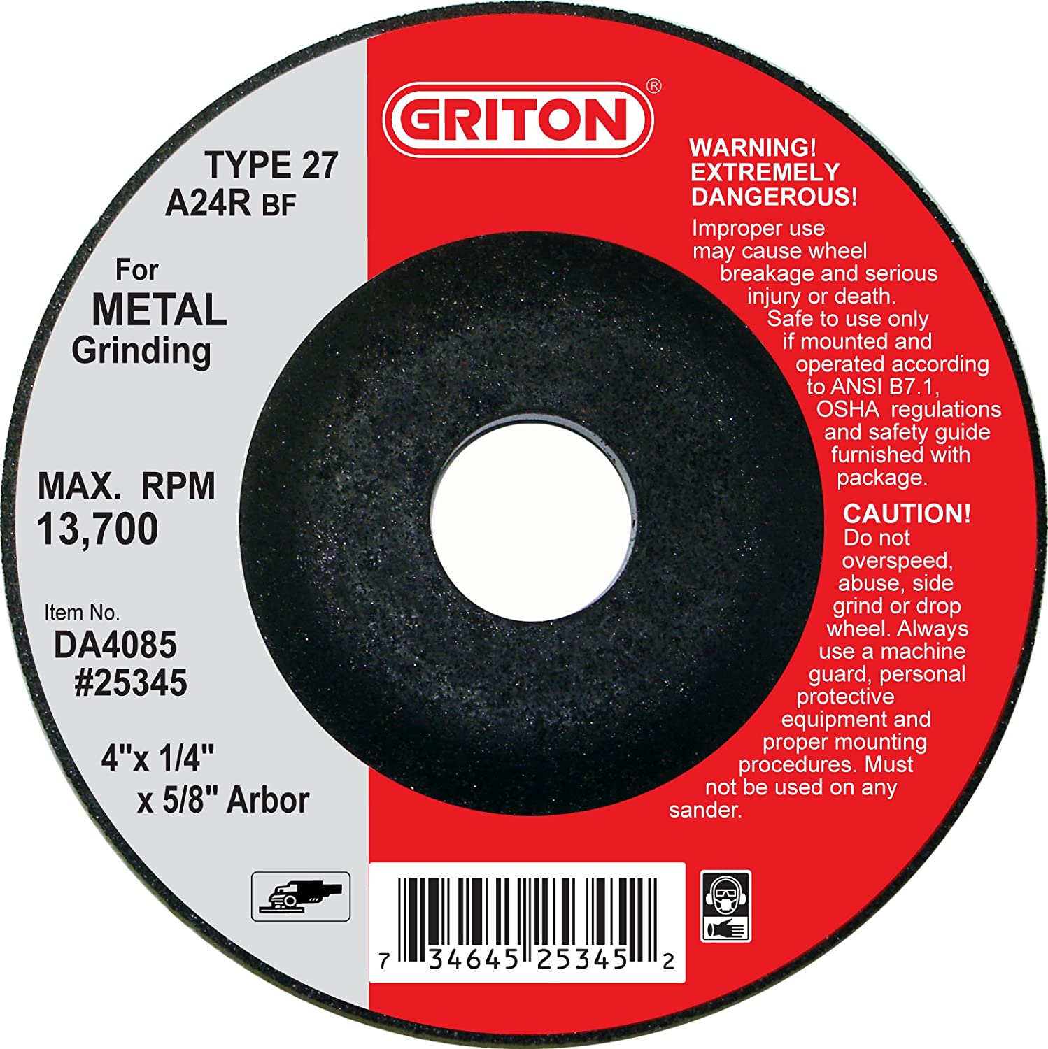 4 Diameter Silicon Carbide 13700 RPM Pack of 25 Griton DC4085 Type 27 Grinding Wheel Used on Masonry