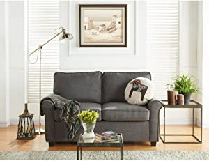 Mainstays Sofa Sleeper with Memory Foam Mattress | No-tool Easy Assembly (Grey)