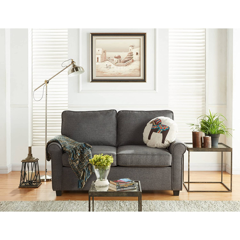 Amazon com mainstays sofa sleeper with memory foam mattress no tool easy assembly grey kitchen dining