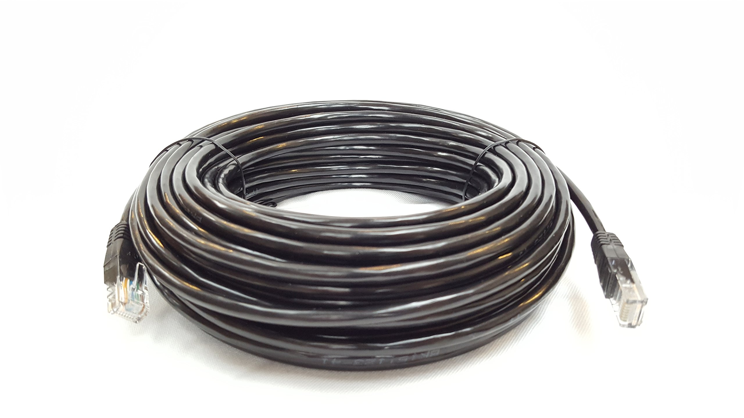 Cable Sourcing - 100ft (30m) CAT5e cable, EXTERNAL (outdoor use) & INTERNAL, 100% SOLID COPPER, Ethernet, CCTV,, 10/100/1000mb, RJ45 Plugs, Networking & Patch Cable, DATA/LAN, BLACK by Cable Sourcing