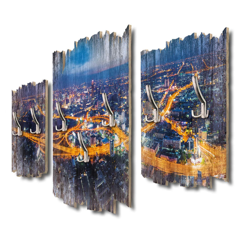 Kreative Feder Bangkok bei Nacht Thailand Designer Wandgarderobe Flurgarderobe Wandpaneele 95 x 60 cm aus MDF-Holz DTGH026