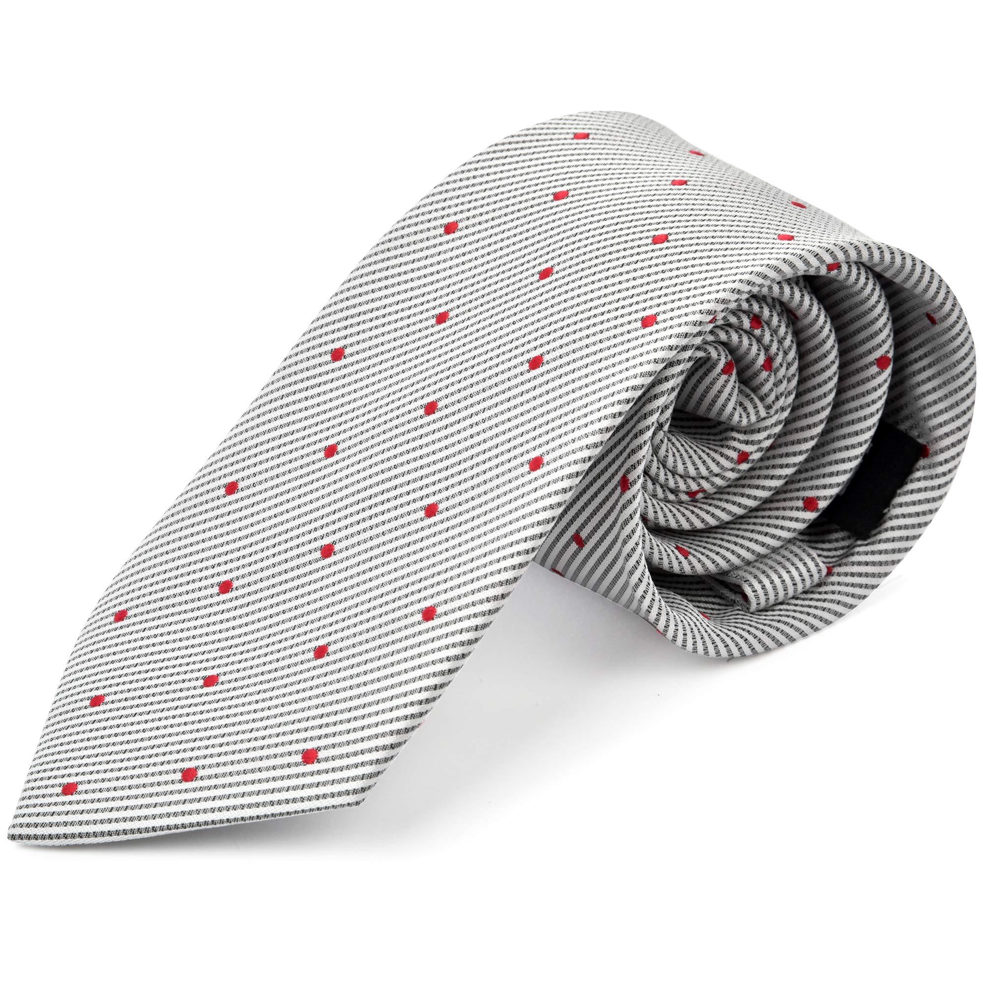 Ike Behar Boys 52'' Grey And Red Poka Dot Tie
