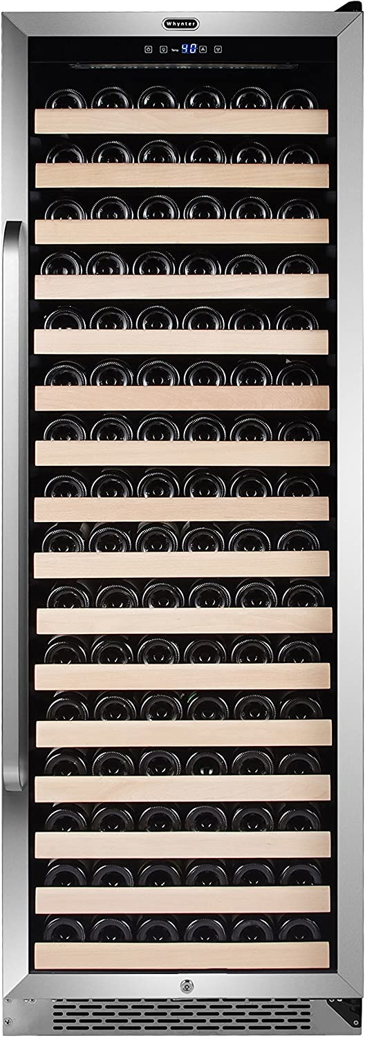 Whynter BWR-1662SD 166 Built-in or Freestanding Stainless Steel Compressor Large Capacity Wine Refrigerator Rack for Open Bottles and LED Display, One Size, Black