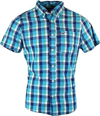 Hollister - Camisa casual - con botones - Cuadrados - Manga corta - para hombre azul y verde 52: Amazon.es: Ropa y accesorios