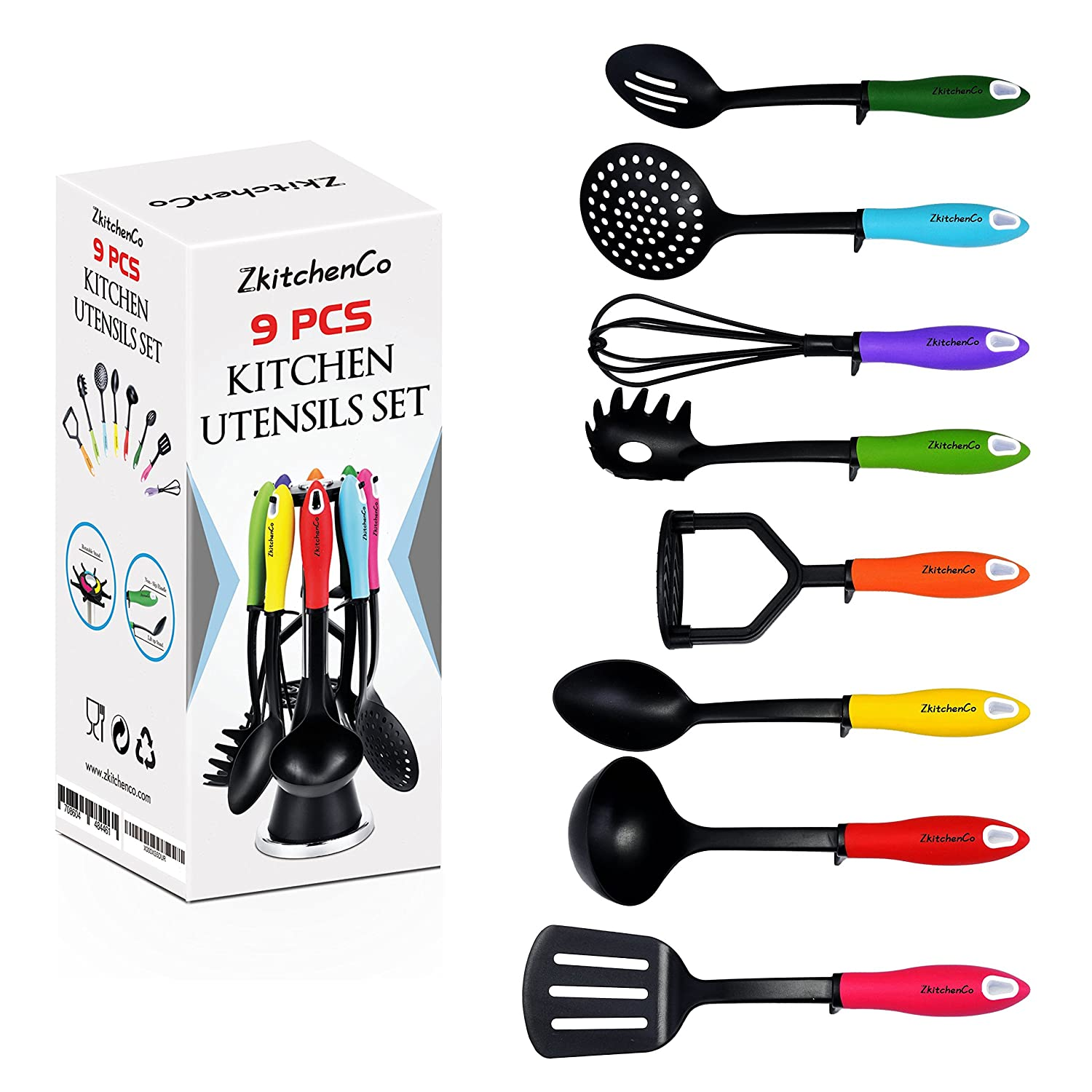 dining silicone utensil dp premium non koe utensils heat set amazon stick resistant kitchen com piece