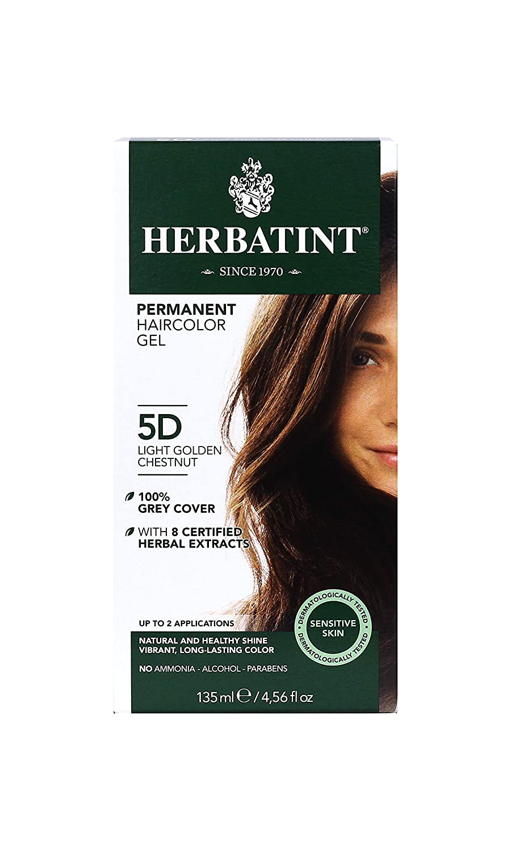 Herbatint Permanent Haircolor Gel, 5D Light Golden Chestnut, 4.56 Ounce
