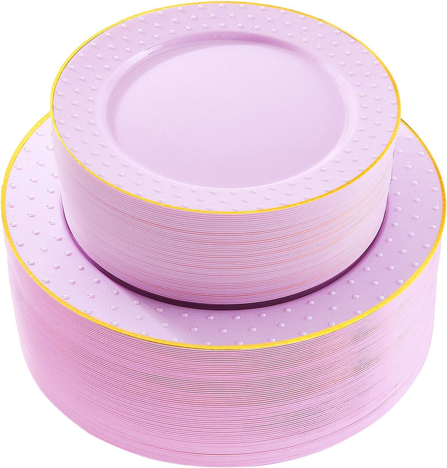 Supernal 102pcs Disposable Plastic Plates Purple Plastic Plates with Gold rim Durable Plastic Plates Heavy Duty 51 Dinner Plates and 51 Dessert Plates