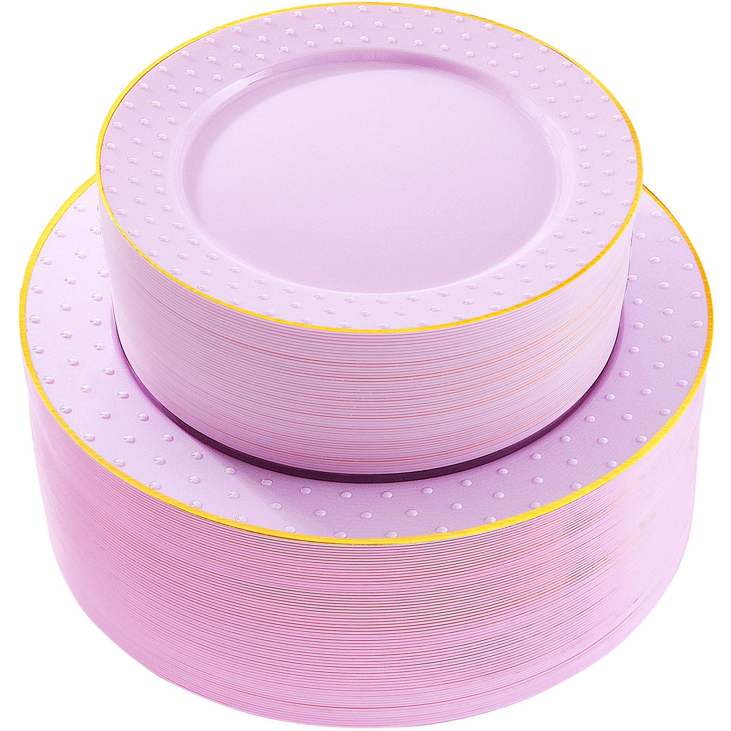 102pcs Disposable Plastic Plates Purple Plastic Plates with Gold rim Durable Plastic Plates Heavy Duty 51 Dinner Plates and 51 Dessert Plates, Supernal by supernal