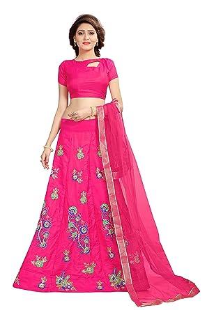 32f6241ba5 Shoryam Fashion Girls pepar silk Lehenga Choli with Dupatta, Embroidered  Semi Stitched Lehenga,party wear lehenga choli for girls(free size_  SF_darsti g1) ...