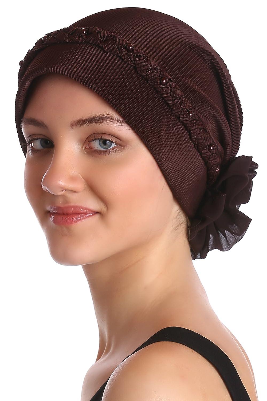 Deresina Headwear Pañuelos para Quimioterapia con Trenzado y de Perlas Frente DRHBB4