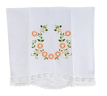 Blanco Vintage Toalla con encaje bordado Linens (decoración a mano) para decoración de cocina y baño truffilio: Amazon.es: Hogar