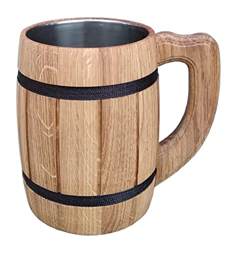 Amazon.com: Jarra de cerveza hecha a mano producto de madera ...