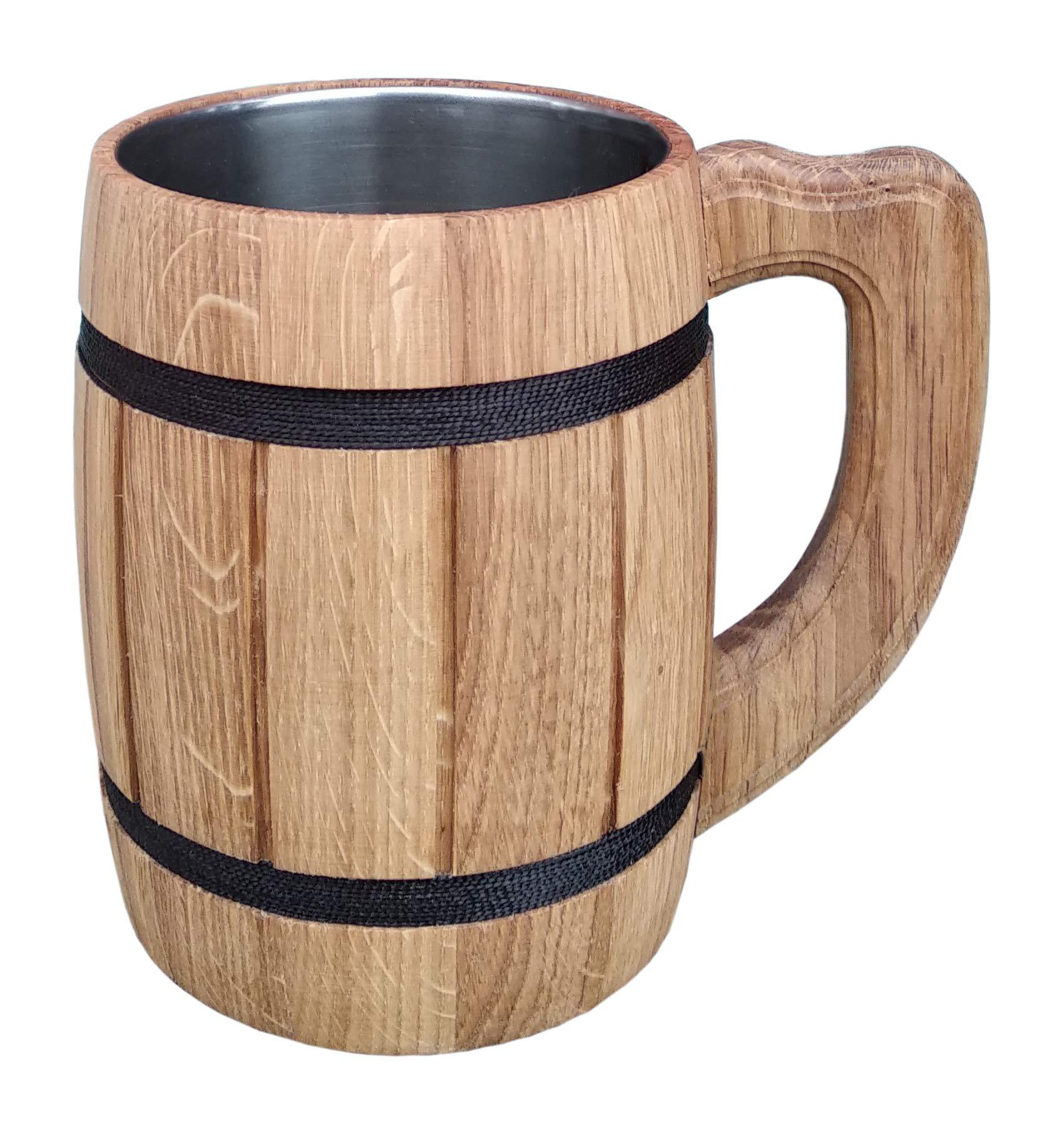 Wooden Beer Tankard Beer Mug Capacity: 20 oz (0.6 liters). Wooden Beer Stein - Wood Carving Beer Mug of Wood Eco Friendly Great Beer Gift Ideas Beer Mug for Men. Color Beige